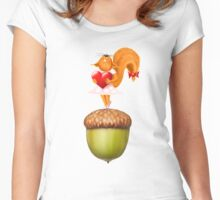 Happy squirrel with heart standing on acorn illustration art Women's Fitted Scoop T-Shirt