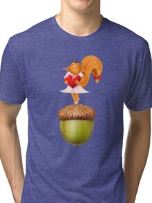 Happy squirrel with heart standing on acorn illustration art Tri-blend T-Shirt