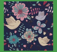 Sweet little birds in flight with bright colourful flowers, a fun modern repeating illustration on black, classic statement fashion clothing, soft furnishings and home decor  One Piece - Short Sleeve