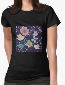 Sweet little birds in flight with bright colourful flowers, a fun modern repeating illustration on black, classic statement fashion clothing, soft furnishings and home decor  Womens Fitted T-Shirt