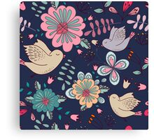 Sweet little birds in flight with bright colourful flowers, a fun modern repeating illustration on black, classic statement fashion clothing, soft furnishings and home decor  Canvas Print