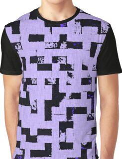 Line Art - The Bricks, tetris style, purple and black Graphic T-Shirt