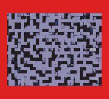 Line Art - The Bricks, tetris style, purple and black Kids Tee