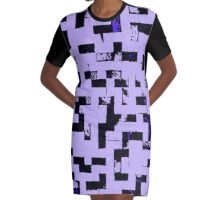Line Art - The Bricks, tetris style, purple and black Graphic T-Shirt Dress