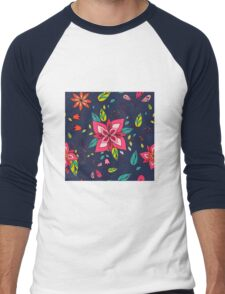 Pink flower, bold, bright and fun retro flora and leaves illustration on black, classic statement fashion clothing, soft furnishings and home decor  Men's Baseball ¾ T-Shirt