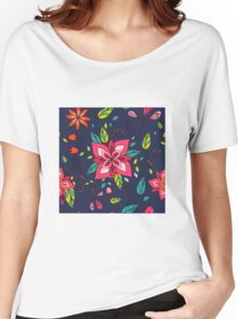 Pink flower, bold, bright and fun retro flora and leaves illustration on black, classic statement fashion clothing, soft furnishings and home decor  Women's Relaxed Fit T-Shirt