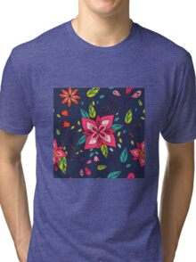Pink flower, bold, bright and fun retro flora and leaves illustration on black, classic statement fashion clothing, soft furnishings and home decor  Tri-blend T-Shirt