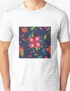 Pink flower, bold, bright and fun retro flora and leaves illustration on black, classic statement fashion clothing, soft furnishings and home decor  Unisex T-Shirt