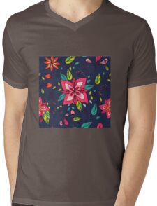 Pink flower, bold, bright and fun retro flora and leaves illustration on black, classic statement fashion clothing, soft furnishings and home decor  Mens V-Neck T-Shirt