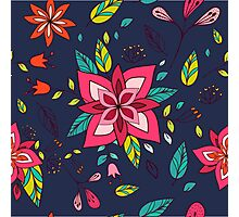 Pink flower, bold, bright and fun retro flora and leaves illustration on black, classic statement fashion clothing, soft furnishings and home decor  Photographic Print