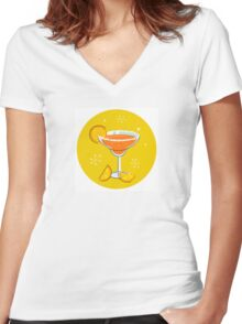 Orange retro drink with fruit. Vector cartoon Illustration Women's Fitted V-Neck T-Shirt