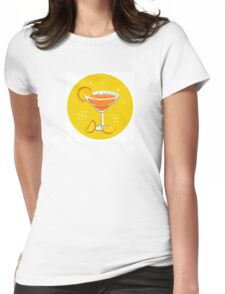 Orange retro drink with fruit. Vector cartoon Illustration Womens Fitted T-Shirt