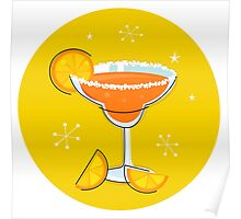 Orange retro drink with fruit. Vector cartoon Illustration Poster