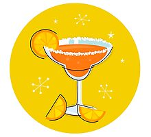 Orange retro drink with fruit. Vector cartoon Illustration Photographic Print
