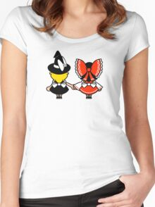 Black/White + Red/White Women's Fitted Scoop T-Shirt