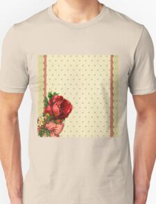 Shabby chic,red roses,gold polka dots,beige,rustic,lace ribbon Unisex T-Shirt