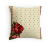 Shabby chic,red roses,gold polka dots,beige,rustic,lace ribbon Throw Pillow