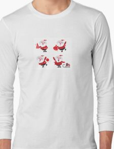Vector Santas in various poses collection Long Sleeve T-Shirt