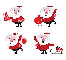 Vector Santas in various poses collection Photographic Print
