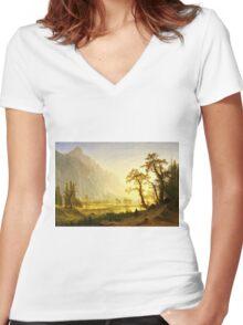 Albert Bierstadt - Sunrise, Yosemite Valley ( 1870)  Women's Fitted V-Neck T-Shirt
