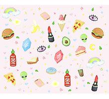 Nineties Stickers Redone - Sriracha and Rupees.  Photographic Print