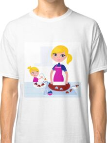 Happy blond hair Mother with Daughter baking together Classic T-Shirt