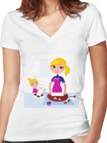 Happy blond hair Mother with Daughter baking together Women's Fitted V-Neck T-Shirt