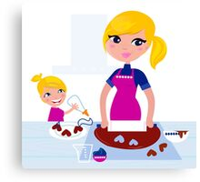 Happy blond hair Mother with Daughter baking together Canvas Print