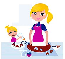 Happy blond hair Mother with Daughter baking together Photographic Print