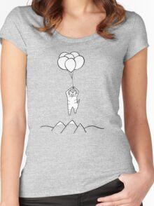 Balloon cat flies away Women's Fitted Scoop T-Shirt