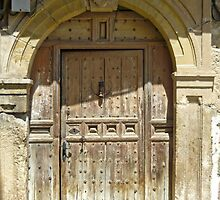 Talamanca de Jarama - Old Wooden Door with Arch by Michelle Falcony
