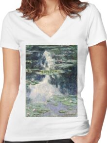 Claude Monet - Pond with Water Lilies (1907)  Women's Fitted V-Neck T-Shirt