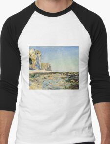 Claude Monet - Seashore and Cliffs of Pourville in the Morning (1882)  Men's Baseball ¾ T-Shirt