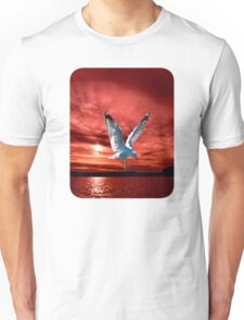Silver Gull in Orange/ Red Ocean Sunrise. Printed T-Shirts and Apparel. Unisex T-Shirt