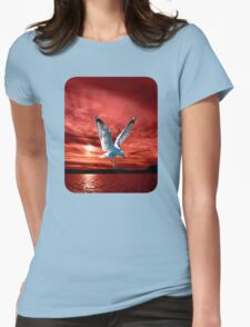 Silver Gull in Orange/ Red Ocean Sunrise. Printed T-Shirts and Apparel. Womens Fitted T-Shirt