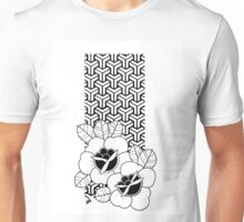 Geometric Traditional Roses Black and White Unisex T-Shirt