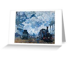 Claude Monet - The Gare Saint Lazare Arrival of a Train (1877)  Greeting Card