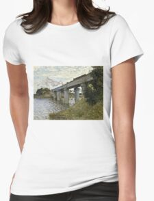 Claude Monet - The Railroad bridge in Argenteuil (1873 - 1874)  Womens Fitted T-Shirt