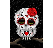 Cute Red Day of the Dead Sugar Skull Owl Photographic Print