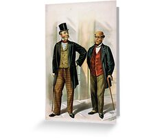 Performing Arts Posters Two well dressed men with canes standing on sidewalk outside saloon 1558 Greeting Card