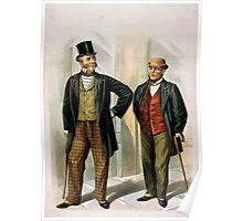 Performing Arts Posters Two well dressed men with canes standing on sidewalk outside saloon 1558 Poster