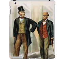 Performing Arts Posters Two well dressed men with canes standing on sidewalk outside saloon 1558 iPad Case/Skin