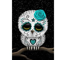 Cute Teal Blue Day of the Dead Sugar Skull Owl Photographic Print