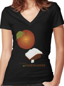 Apple are the fruit of Knowledge V2 Women's Fitted V-Neck T-Shirt