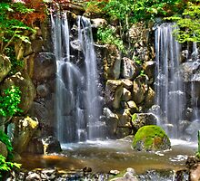 Waterfall at Japanese Gardens by Roger Passman