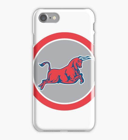 Bull Attacking Charging Circle Retro iPhone Case/Skin