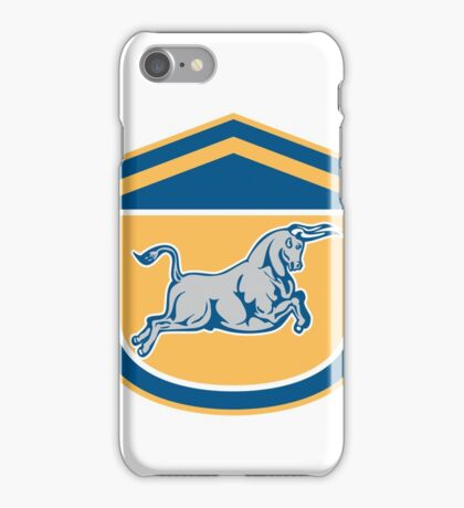 Bull Attacking Charging Shield Retro iPhone Case/Skin