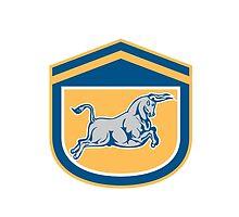Bull Attacking Charging Shield Retro by patrimonio