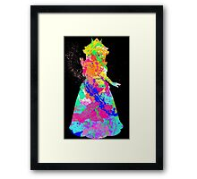 Princess Peach Paint Splatter White Framed Print