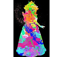 Princess Peach Paint Splatter White Photographic Print
